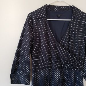 Ann Taylor Polk-a-dot Collared Dress